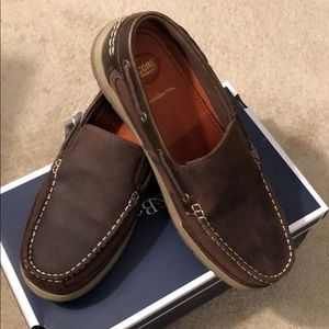 Men's Croft and Barrow brown leather deck shoe